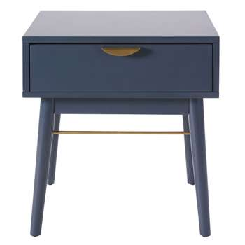 PENELOPE Dark Blue 1-Drawer Bedside Table (H50 x W45 x D35cm)