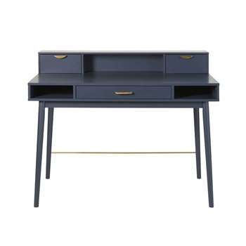 PENELOPE Dark Blue Vintage 3-Drawer Desk (H98 x W120 x D60cm)