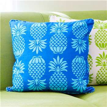 Penelope Hope Pineapple Print Cushion, Blue Mix (50 x 50cm)