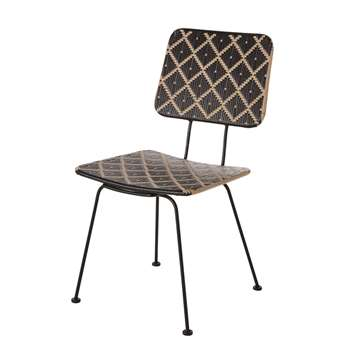 PENIDA - Black Patterned Resin and Faux Rattan Garden Chair (H87 x W47 x D56cm)