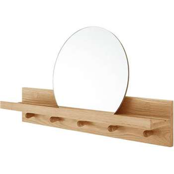 Penn Wall Shelves and Mirror, Oak (32 x 60cm)