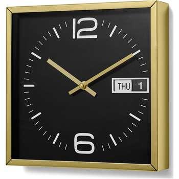 Pennington Square Station Clock with Calendar, Brass & Charcoal (H25 x W25 x D4cm)