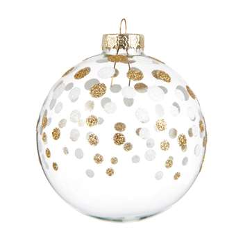 PEPITES - White Glass Christmas Bauble with Gold Polka Dots (H8 x W8 x D8cm)