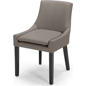 Percy Scoop Back Chair, Pewter Grey PU (87 x 53cm)