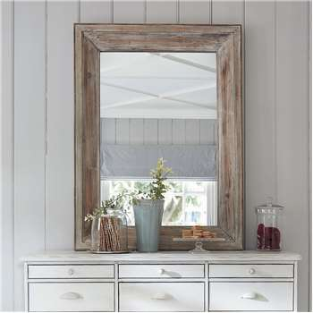 PERRINE whitewashed wood mirror H 112cm