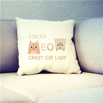 Personalised Crazy Cat Lady Cushion Cover (45 x 45cm)