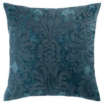 PERUGE Blue Velvet and Embroidered Wool Cushion (H45 x W45cm)