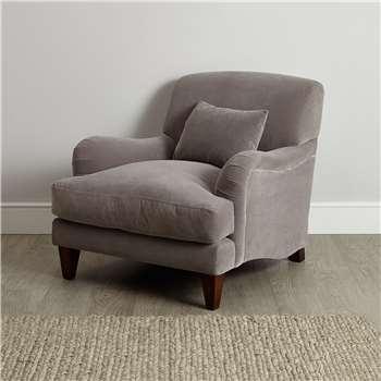 Petersham Velvet Armchair, Silver Grey Velvet (H88 x W95 x D109cm)