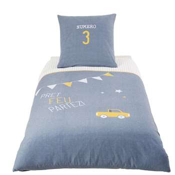 PETIT BOLIDE Children's Blue Cotton Quilt Cover (140 x 200cm)