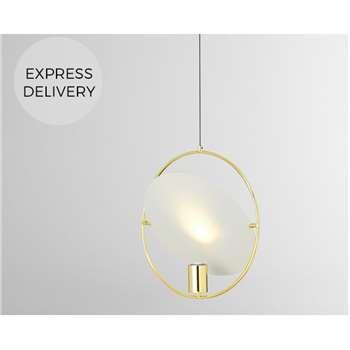 Pharo Pendant Lamp, Brass (H120 x W40 x D10cm)