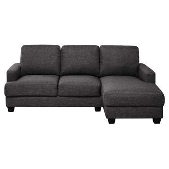 PHILADELPHIE 3/4 seater fabric RHF corner sofa in heather grey (85 x 210cm)