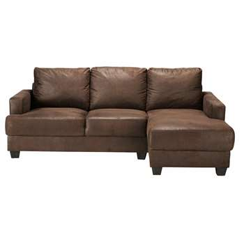 PHILADELPHIE 3/4 seater imitation suede RHF corner sofa in brown (85 x 210cm)