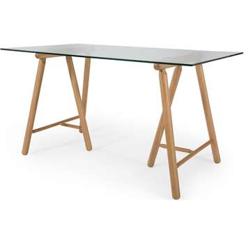 Philly Desk, Oak and Glass (H76 x W140 x D80cm)