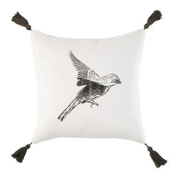 PHILOMENE Ecru Cotton and Linen Cushion with Black Bird Print (H35 x W35 x D10cm)