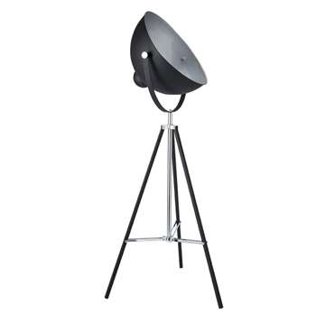 PHOTOGRAPHE metal tripod floor lamp in black (145 x 57cm)
