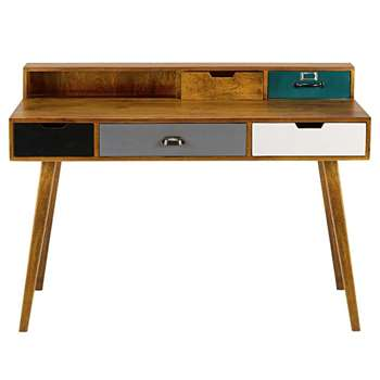 PICADILLY 5-drawer solid mango wood desk (89 x 125cm)