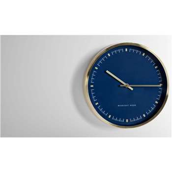Pickett Wall Clock, Brushed Brass and Navy Blue (30 x 30cm)