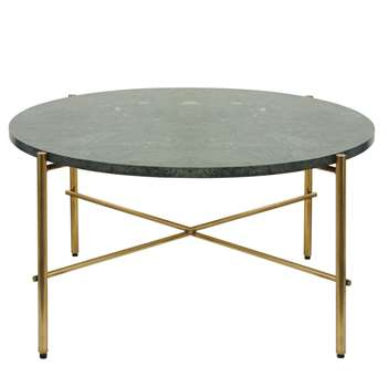 PIETRA Round Green Marble and Brass Metal Coffee Table (H40 x W80 x D80cm)