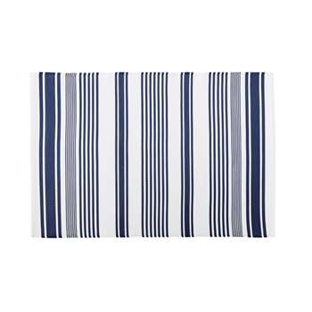 PILA Ecru Outdoor Rug with Blue Stripe Print (H120 x W180cm)