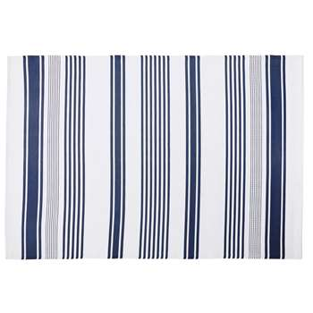 PILA Ecru Outdoor Rug with Blue Stripe Print (H180 x W270cm)