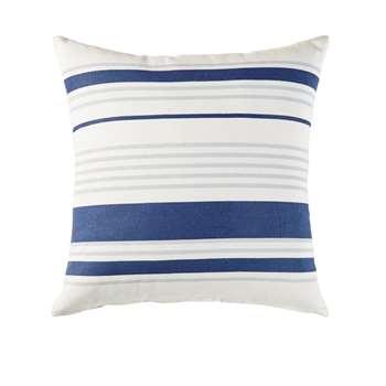 PILA Outdoor Cushion in Ecru Cotton with Blue Stripe Print (H45 x W45 x D10cm)