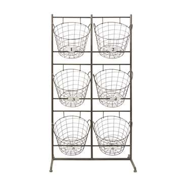 PILAT Black Metal Storage Unit with 6 Removable Baskets (H125 x W67 x D36cm)