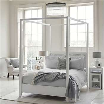Pimlico Four Poster Bed, King, White (220 x 162.2cm)