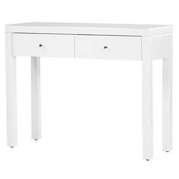 Pimlico White Glass Dressing Table with 4 Legs (H80 x W102 x D35cm)