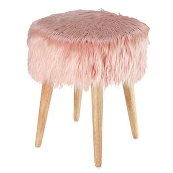 PIN'UP pink faux fur stool (45 x 37cm)