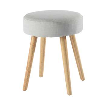 PIN'UP vintage fabric and wood stool in pearl grey (45 x 35cm)