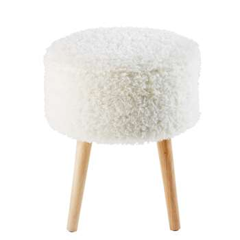 PIN'UP White Faux Fur Storage Stool with Rubber Wood Legs (43 x 37cm)