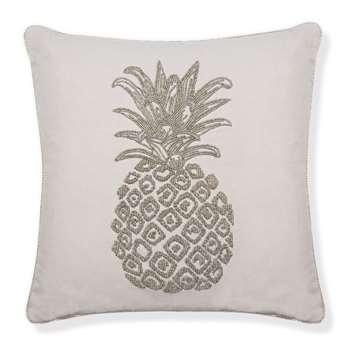 Pineapple Beaded Silver Cushion (43 x 43cm)