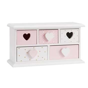 Pink and White 5-Drawer Box (13 x 24cm)