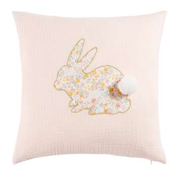 APOLLINE Pink Cotton Cushion with Rabbit Floral Print (H35 x W35cm)