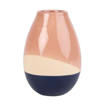 Pink, Ecru and Blue Ceramic Vase (H17 x W12 x D12cm)