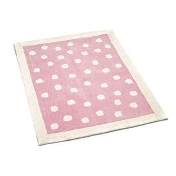 Pink Polka Dot Wool Rug