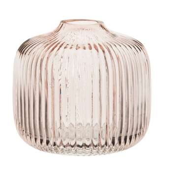 Pink Tinted Ribbed Glass Vase (H11 x W11 x D11cm)