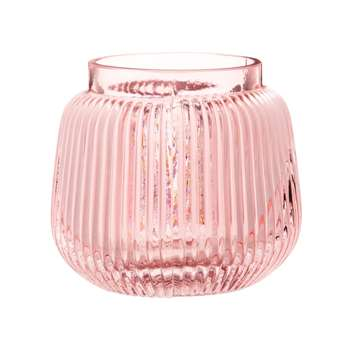 Pink Tinted Ribbed Glass Vase (H12 x W12.5 x D12.5cm)