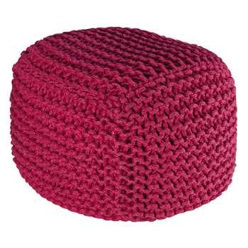 Pink woven wool pouffe BALTIQUE (40 x 45cm)
