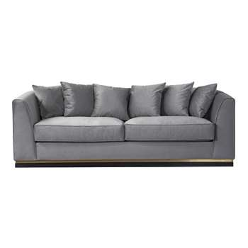 Pino Three Seat Sofa  - Dove Grey - Brass Base (H76 x W217 x D93cm)