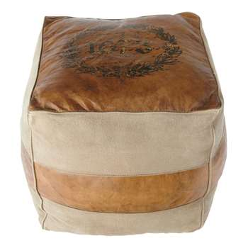 PIONNIER leather and cotton pouffe (42 x 40cm)