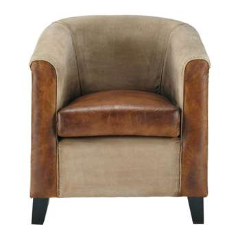 PIONNIER Recycled cotton and goatskin armchair in brown (80 x 78cm)