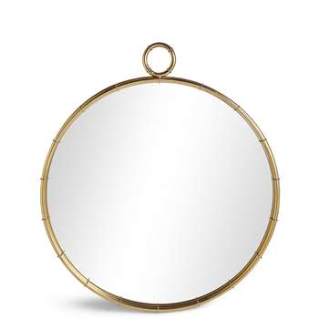 Piped Circular Mirror, Gold (90 x 80cm)