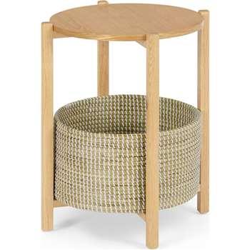 Pipel Bedside Table, Natural Oak & Rattan (H56 x W45 x D45cm)