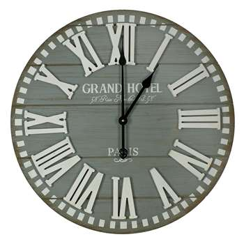 Planks Wall Clock Grey (Diameter 60cm)