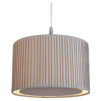 Pleated Pendant Light Shade Grey (H20.5 x W30.5 x D30.5cm)