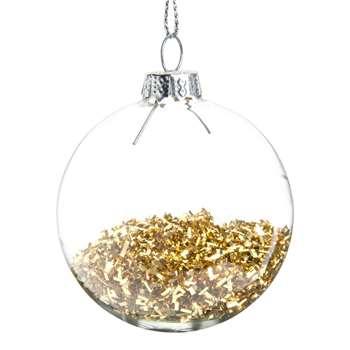PLUIE DE PAILLETTES - Glass Christmas Bauble with Gold Glitter, Set of 12 (H6 x W6 x D6cm)
