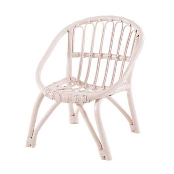 PLUME Children's Light Pink Rattan Chair (H51 x W45 x D46cm)