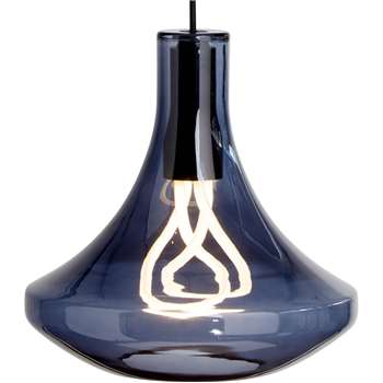 Plume Pendant Lamp and Plumen 001 Bulb, Smoke Blue (H139 x W30 x D30cm)
