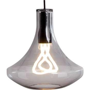 Plume Pendant Lamp and Plumen 001 Bulb, Smoke Grey (139 x 30cm)